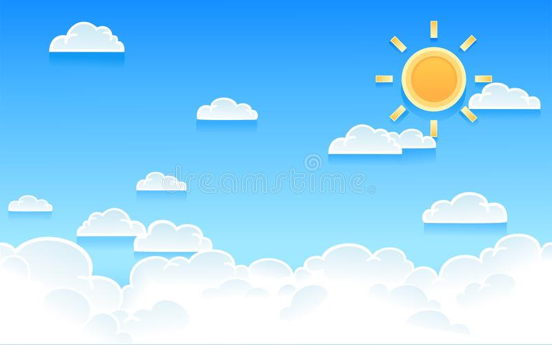 Vector l'illustrazione del cielo nuvoloso con il sole luminoso immagine stock libera da diritti