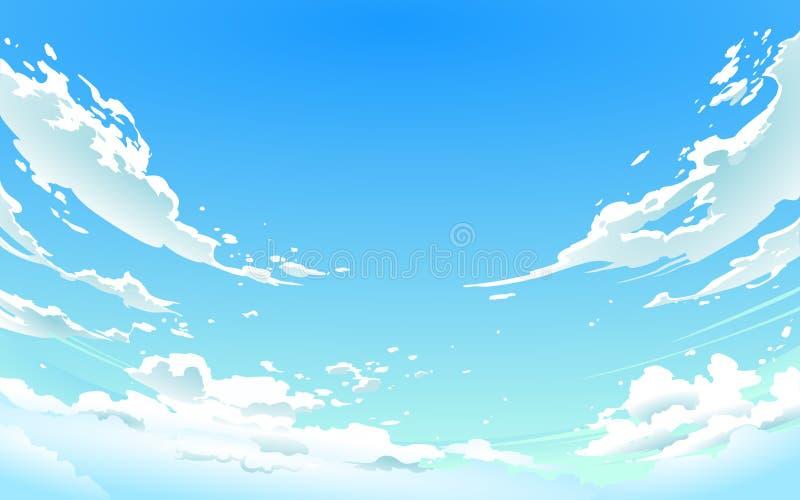 Vector l'illustrazione del cielo nuvoloso nello stile di anime immagine stock libera da diritti