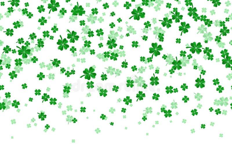 Vector l'illustrazione del confine senza cuciture floreale con il trifoglio verde leaved quattro illustrazione di stock