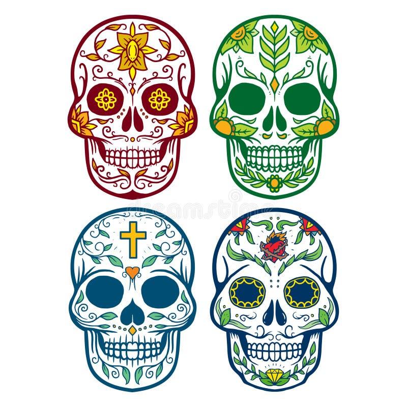 Vector l'illustrazione del cranio il giorno della morte fotografia stock