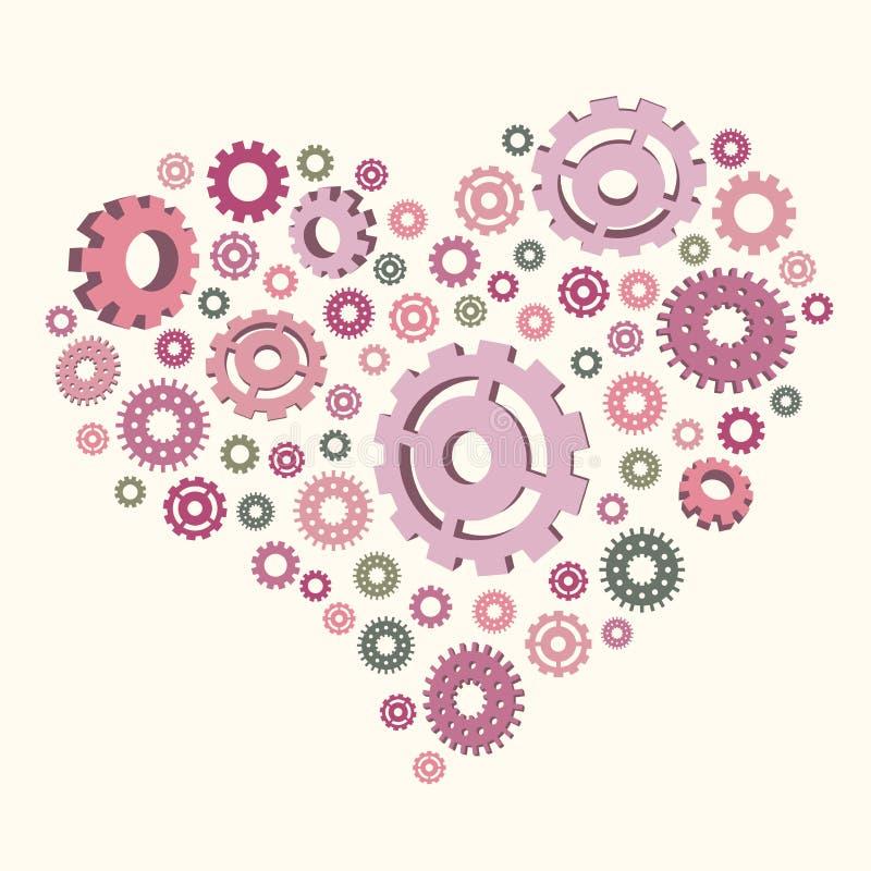 Vector l'illustrazione del cuore degli ingranaggi royalty illustrazione gratis