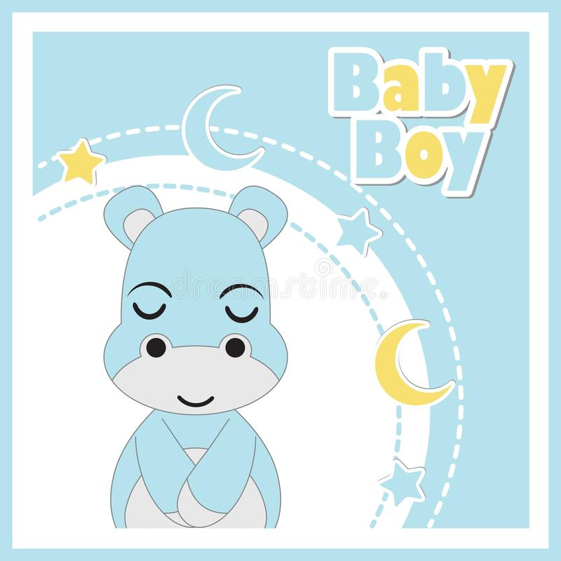 Vector l'illustrazione del fumetto con l'ippopotamo sveglio del bambino sulla struttura blu illustrazione di stock