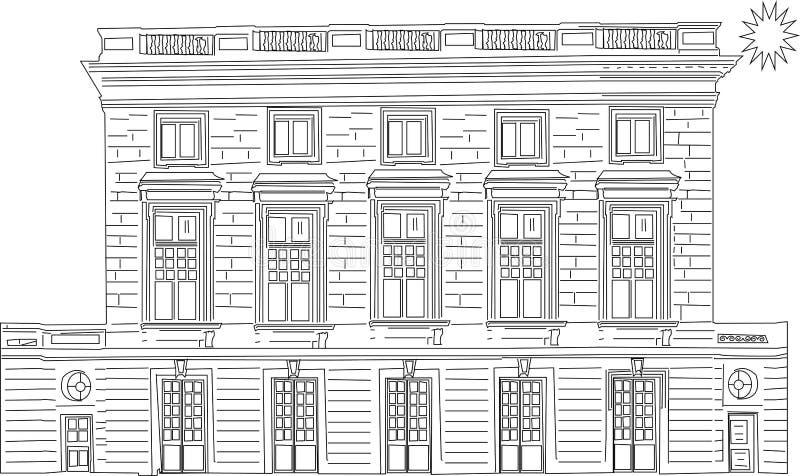 Vector l'illustrazione del fumetto di un paesaggio urbano con le grandi costruzioni moderne - Vectorielles di immagini illustrazione vettoriale