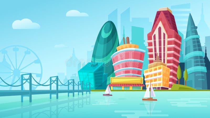 Vector l'illustrazione del fumetto di un paesaggio urbano con le grandi costruzioni moderne vicino al ponte con gli yacht illustrazione di stock