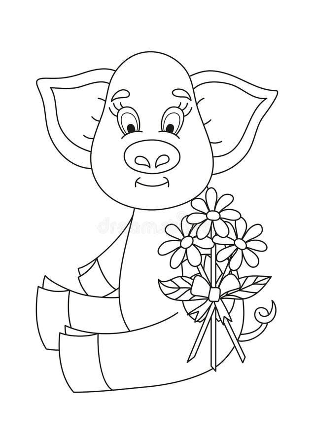 Vector l'illustrazione del maiale sveglio che dà il mazzo di illustrazione di stock