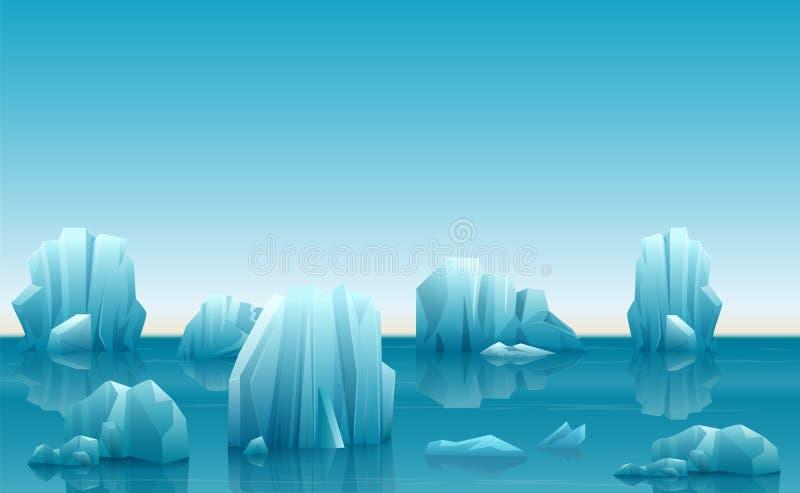 Vector l'illustrazione del paesaggio artico dell'inverno con il lotto degli iceberg e delle montagne della neve royalty illustrazione gratis