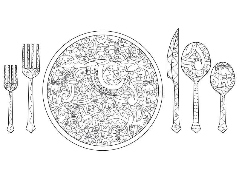 Vector l'illustrazione del piatto, del coltello, del cucchiaio e della forchetta Insieme della coltelleria royalty illustrazione gratis