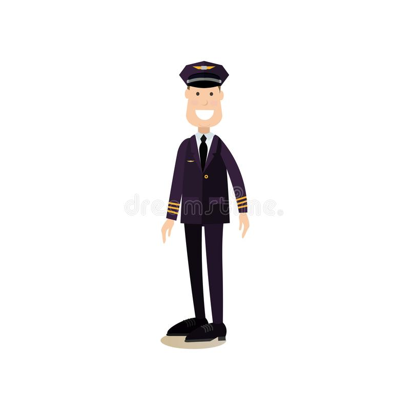 Vector l'illustrazione del pilota di linee aeree commerciali nello stile piano illustrazione di stock