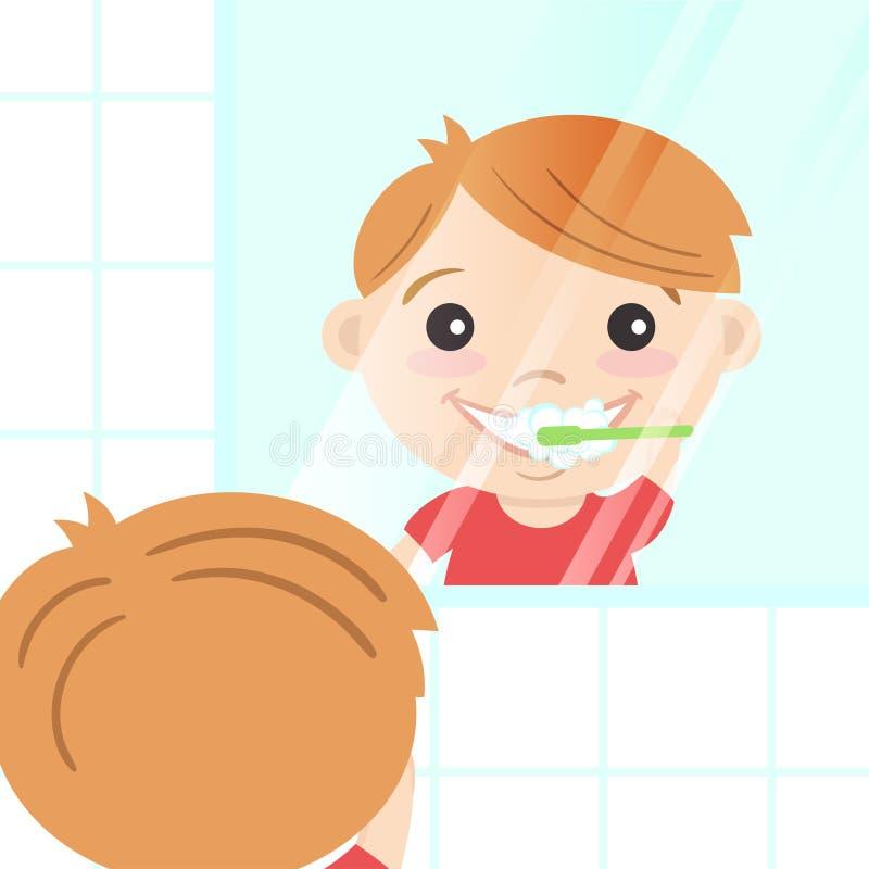 Vector l'illustrazione del ragazzo sveglio felice che pulisce i suoi denti illustrazione di stock