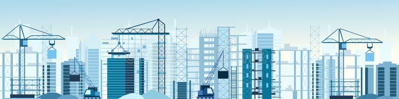 Vector l'illustrazione del sito delle costruzioni di edifici e cranes l'insegna Grattacielo in costruzione escavatore, ribaltator illustrazione di stock
