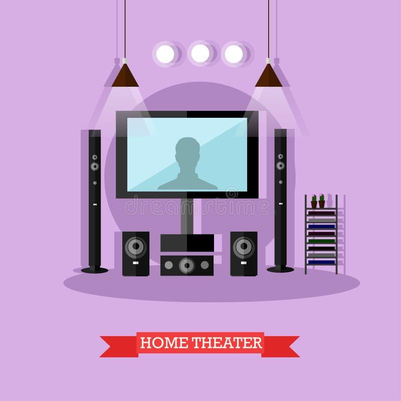 Vector l'illustrazione del teatro domestico, sistema audiovisivo moderno illustrazione di stock