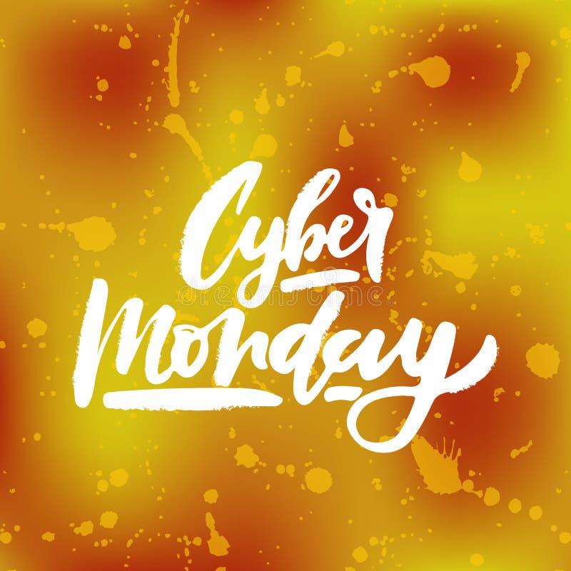 Vector l'illustrazione del testo cyber di lunedì per l'insegna della carta Modello cyber del distintivo dell'etichetta di lunedì  immagini stock libere da diritti