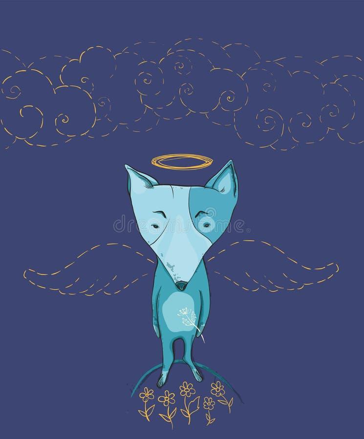 Vector l'illustrazione dell'angelo del cane con le ali, i fiori, nuvole illustrazione di stock
