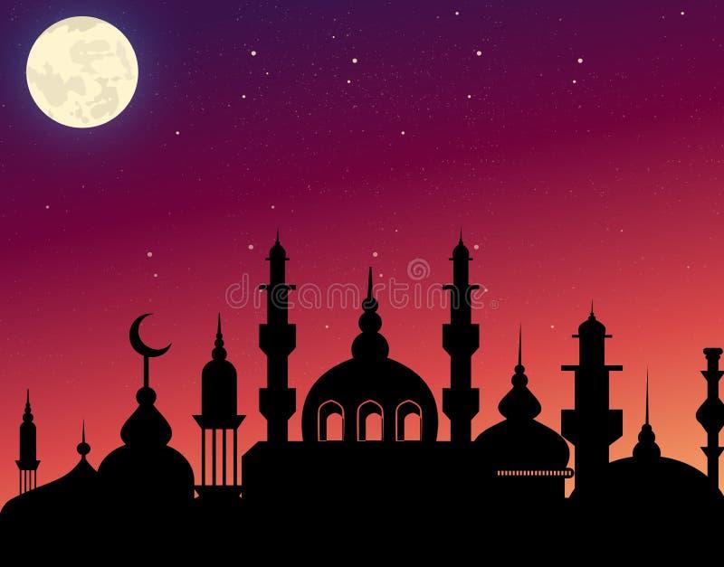 Vector l'illustrazione dell'architettura araba della bella siluetta sul fondo del cielo di sera con le stelle e la luna ramadan illustrazione di stock