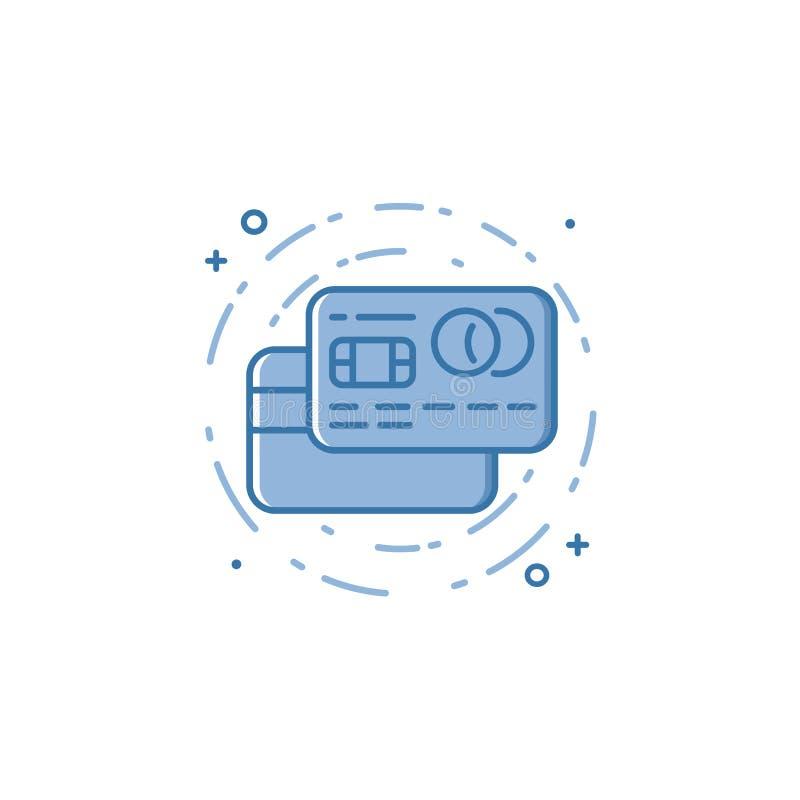 Vector l'illustrazione dell'icona audace riempita delle carte di credito del profilo illustrazione di stock