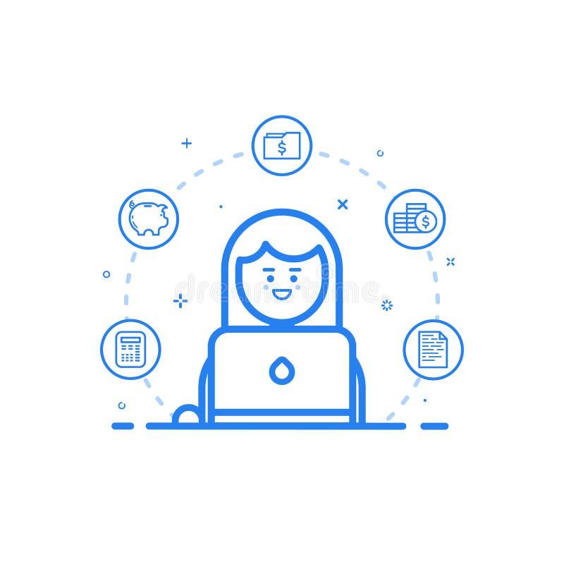 Vector l'illustrazione dell'icona blu nella linea stile piana Concetto di progetto grafico del ragioniere finanziario della donna illustrazione di stock
