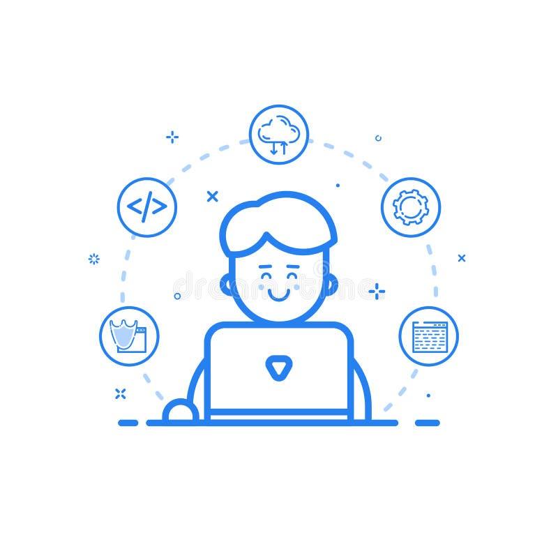 Vector l'illustrazione dell'icona blu nella linea stile piana Uomo sveglio e felice lineare con il computer portatile royalty illustrazione gratis