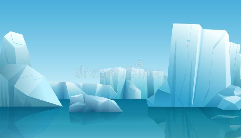 Vector l'illustrazione dell'inverno del paesaggio artico dell'inverno della natura con l'iceberg del ghiaccio, acqua pura blu e l illustrazione vettoriale