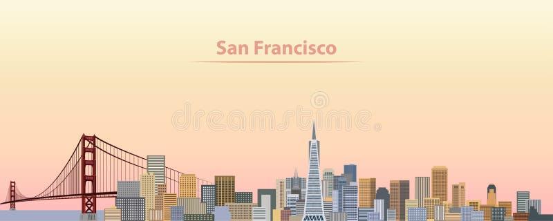 Vector l'illustrazione dell'orizzonte della città di San Francisco all'alba illustrazione vettoriale
