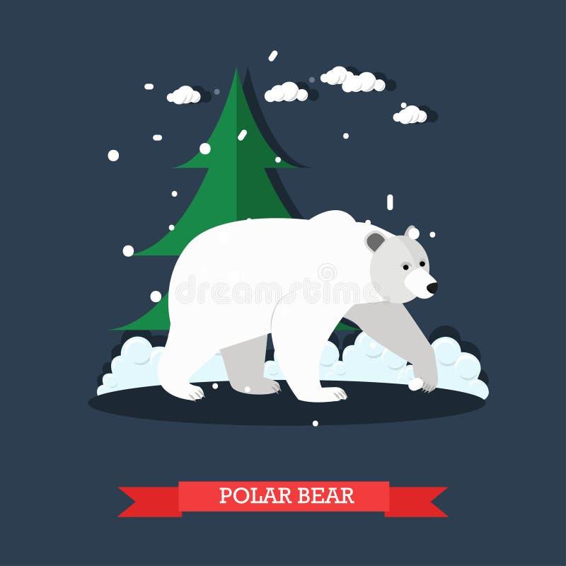 Vector l'illustrazione dell'orso polare bianco nello stile piano royalty illustrazione gratis