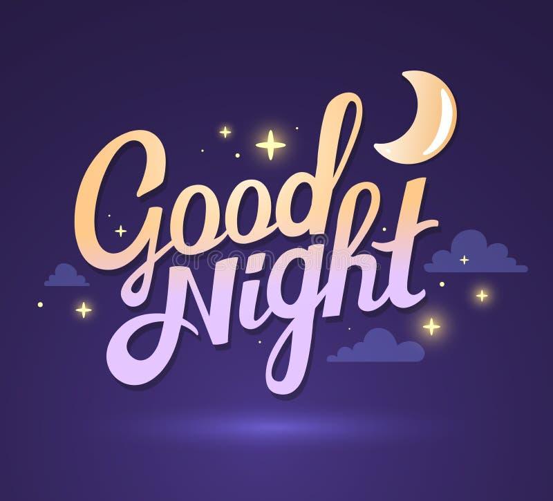 Vector l'illustrazione della buona notte di desiderio sul cielo porpora scuro illustrazione vettoriale