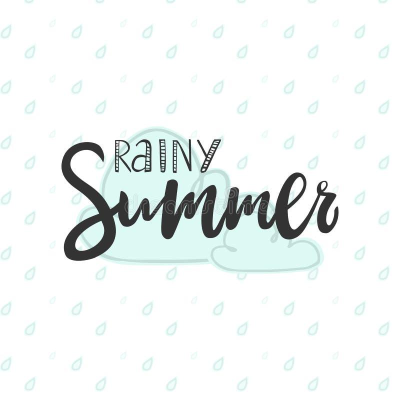 Vector l'illustrazione della calligrafia che segna l'estate con lettere piovosa per la carta immagini stock
