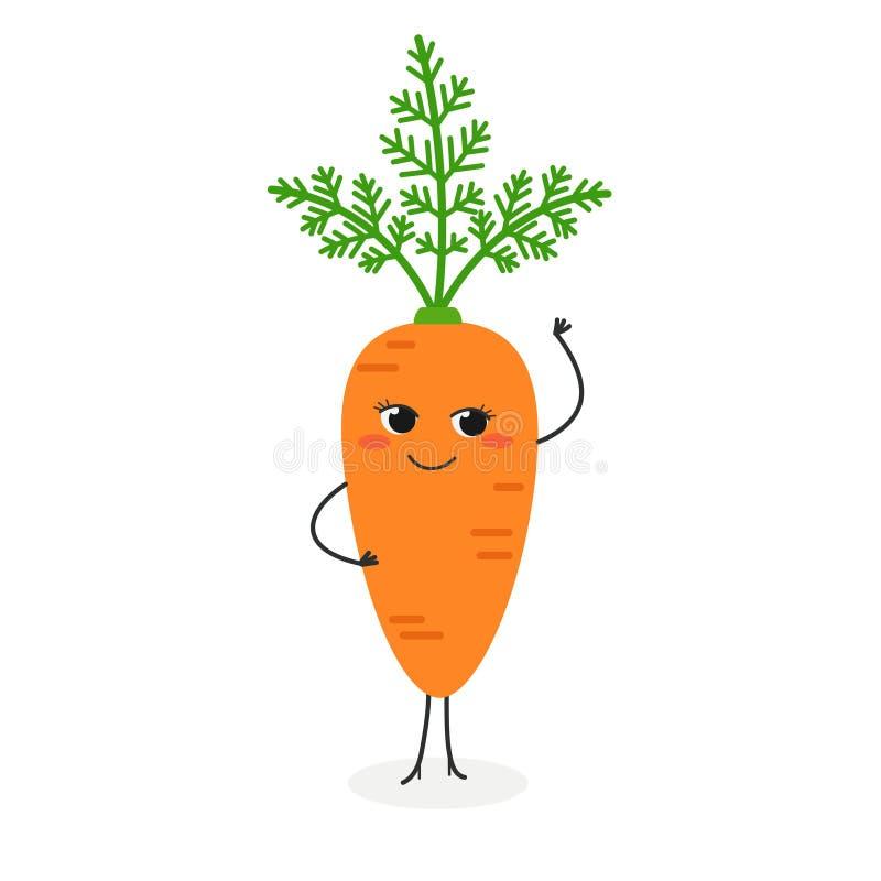 Vector l'illustrazione della carota graziosa del fumetto isolata su fondo bianco illustrazione di stock