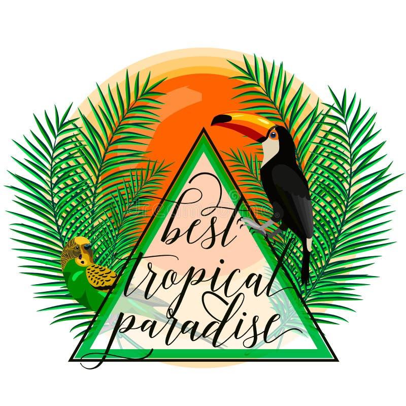 Vector l'illustrazione della carta tropicale di paradiso con le foglie di palma, gli uccelli, il pappagallo, il tucano, il sole,  royalty illustrazione gratis