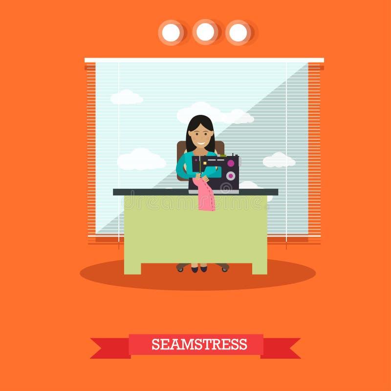 Vector l'illustrazione della cucitrice che cuce sulla macchina nello stile piano illustrazione vettoriale