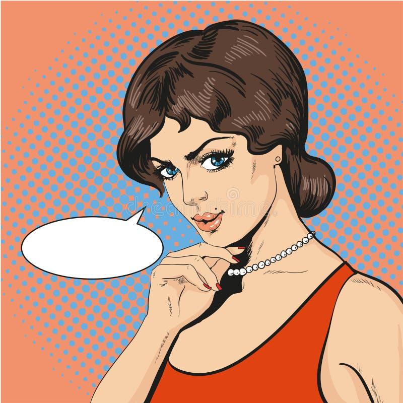 Vector l'illustrazione della donna di pensiero nel retro stile di Pop art illustrazione di stock