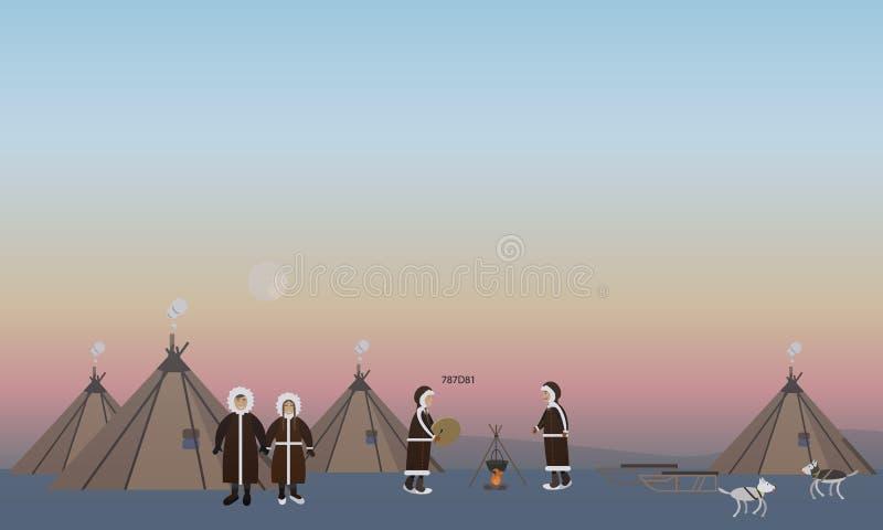 Vector l'illustrazione della gente nordica e delle loro case, stile piano illustrazione vettoriale