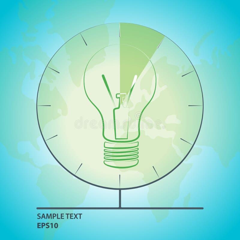 Vector l'illustrazione della lampadina con la mappa e l'orologio del globo royalty illustrazione gratis