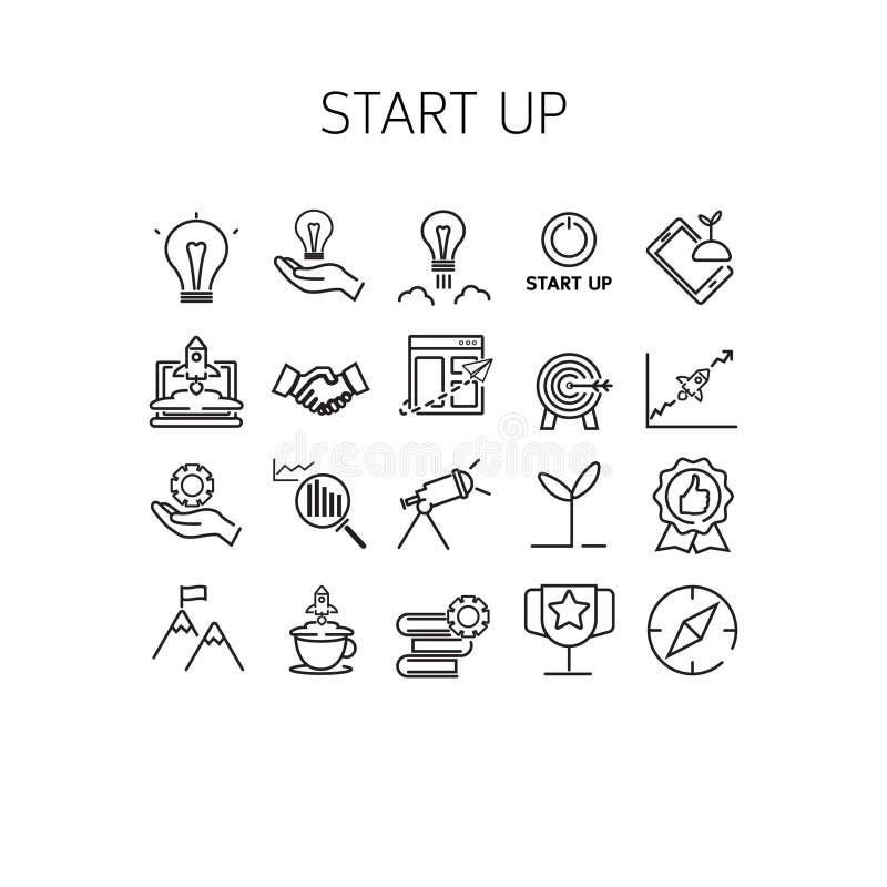 Vector l'illustrazione della linea sottile icone per avviano su fotografia stock libera da diritti