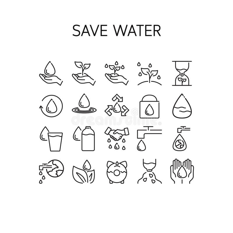 Vector l'illustrazione della linea sottile icone per l'acqua di risparmi fotografia stock libera da diritti