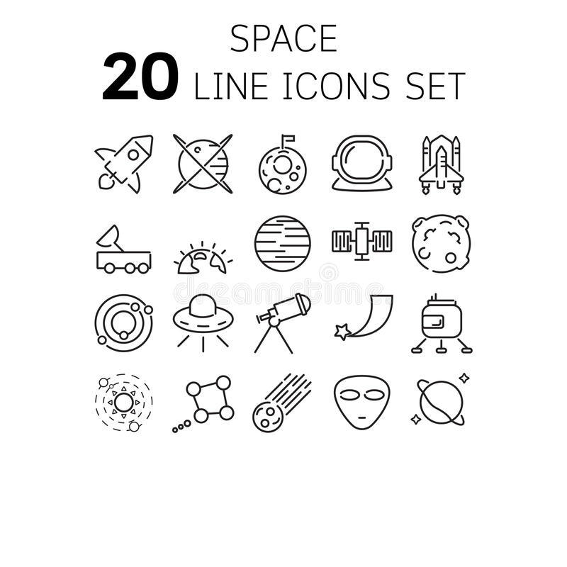 Vector l'illustrazione della linea sottile icone per spazio immagini stock libere da diritti