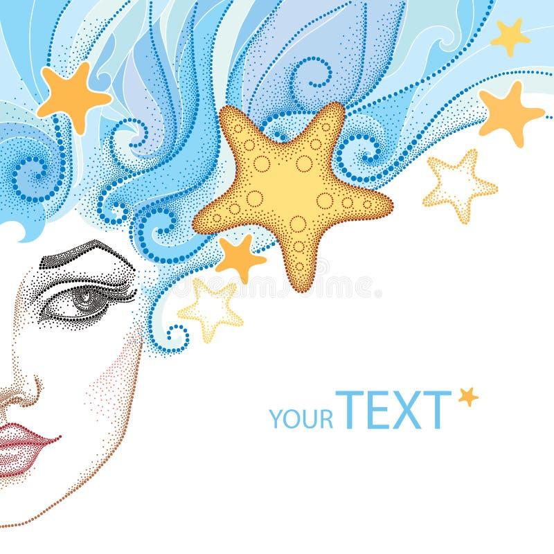 Vector l'illustrazione della metà del bello fronte punteggiato della ragazza con le stelle marine o la stella di mare e linee ric illustrazione vettoriale