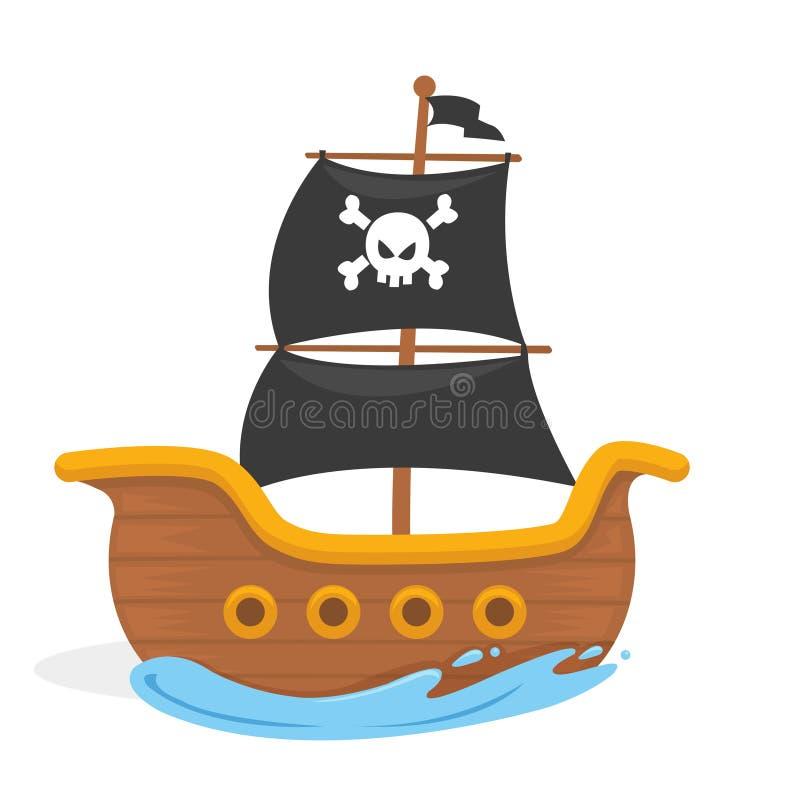 Vector l'illustrazione della nave di pirata dei bambini nell'oceano illustrazione vettoriale