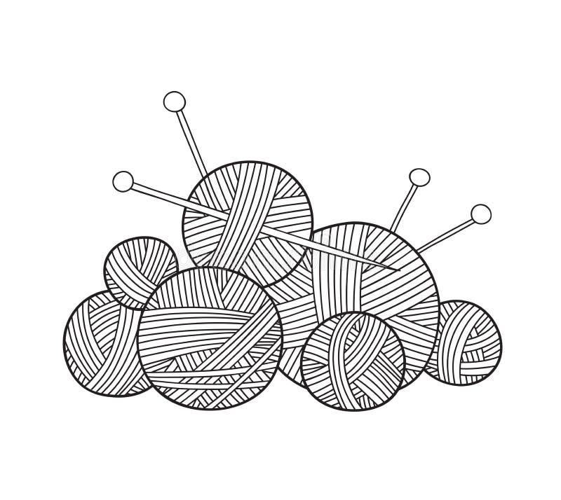 Vector l'illustrazione della palla di filato con i ferri da maglia royalty illustrazione gratis
