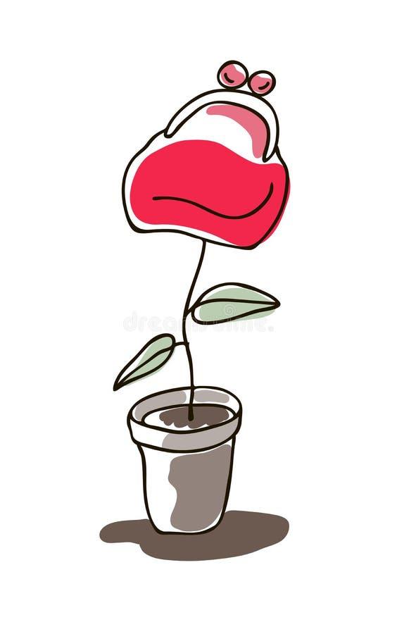 Vector l'illustrazione della pianta di soldi, fiore in vaso royalty illustrazione gratis