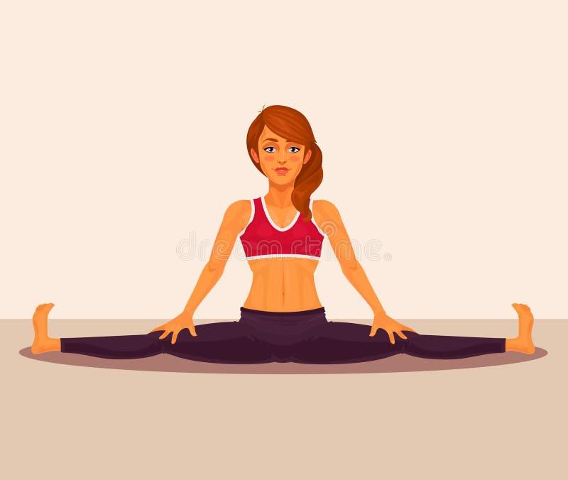 Vector l'illustrazione della ragazza di yoga che fa le spaccature royalty illustrazione gratis