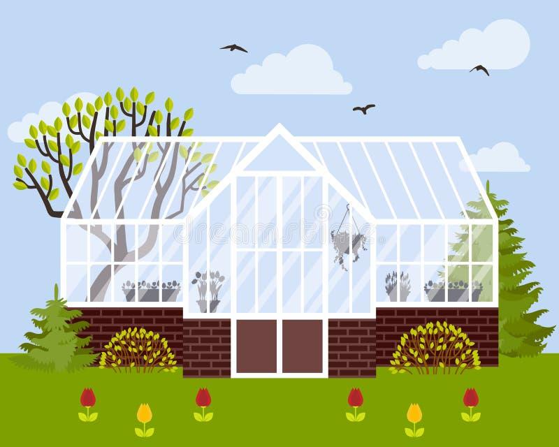 Vector l'illustrazione della serra con le pareti di vetro ed il fondamento del mattone illustrazione di stock