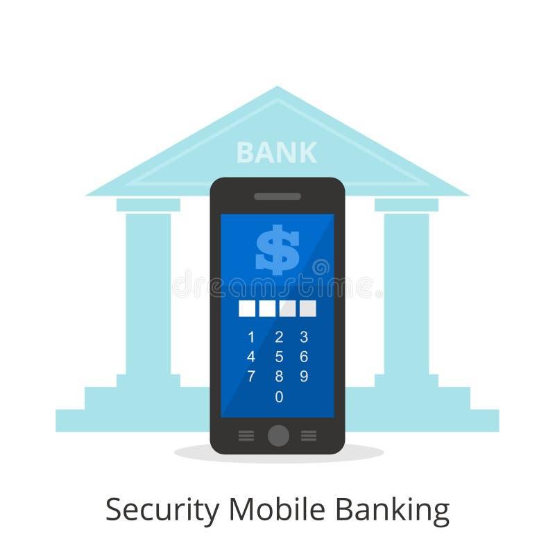 Vector l'illustrazione della sicurezza di usando le attività bancarie mobili illustrazione di stock