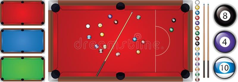 Vector l'illustrazione della tavola di snooker con una stecca e le palle, isolata illustrazione di stock