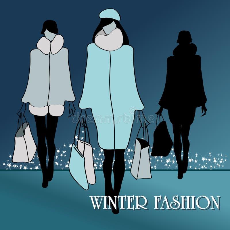 Donne eleganti di modo di inverno royalty illustrazione gratis