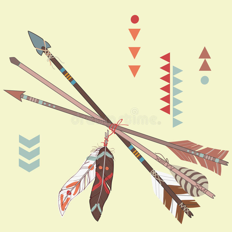 Vector l'illustrazione delle frecce etniche differenti con le piume illustrazione di stock