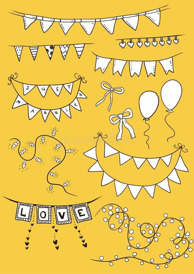 Vector l'illustrazione delle ghirlande variopinte su fondo bianco Insieme di festa Bandierine festive illustrazione di stock