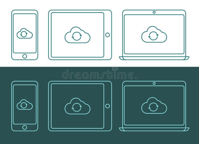 Vector l'illustrazione delle icone di calcolo della nuvola lineare di stile illustrazione di stock
