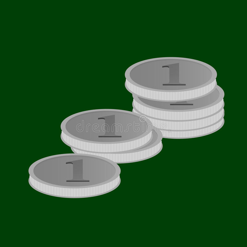 Vector l'illustrazione delle pile di monete d'argento nel valore di uno che si trova sulla tela verde illustrazione di stock