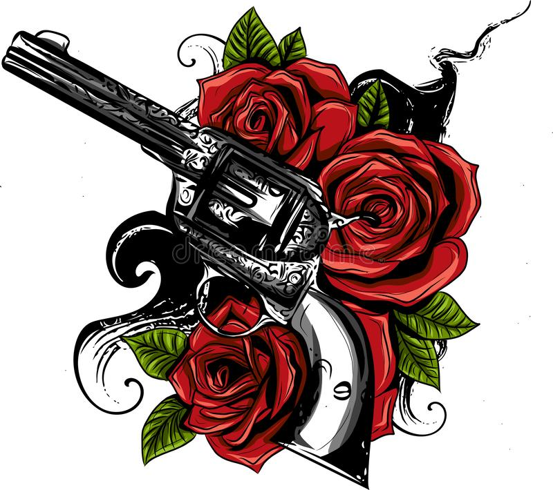 Vector l'illustrazione delle pistole sul fiore e sugli ornamenti floreali con stile del disegno del tatuaggio illustrazione di stock