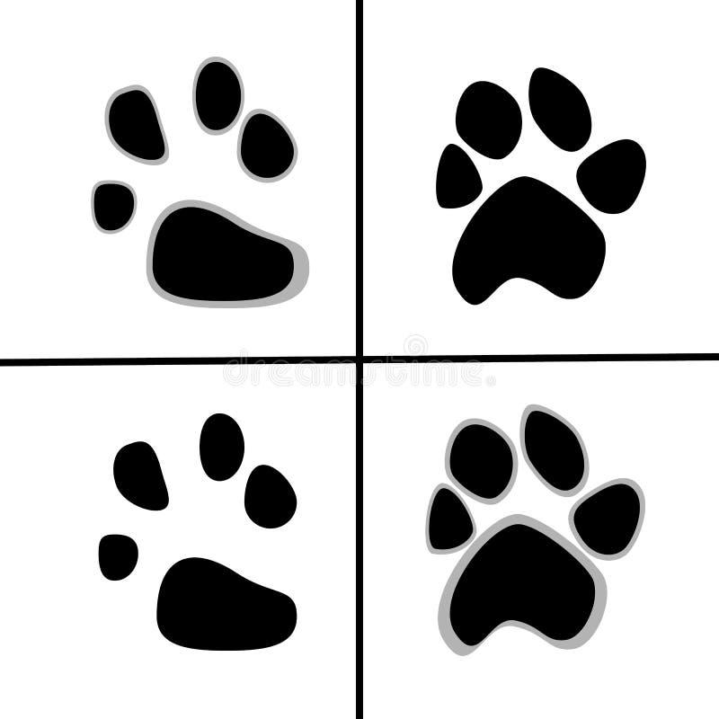 Vector l'illustrazione delle stampe delle zampe animali, stile piano royalty illustrazione gratis
